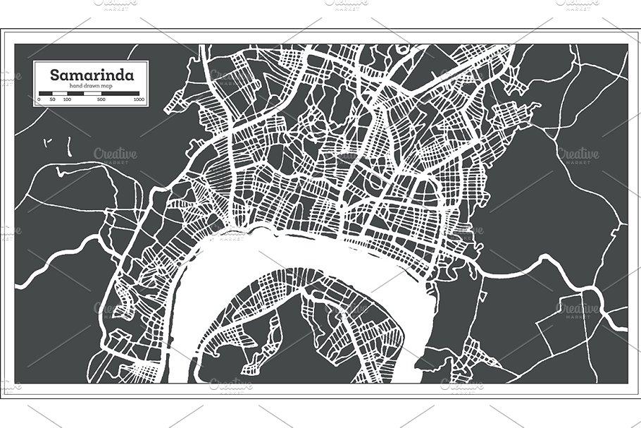 Samarinda Indonesia City Map ~ Illustrations ~ Creative Market