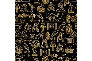 Egyptian seamless pattern, Gods
