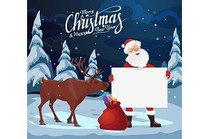 Santa with sign, Christmas gifts