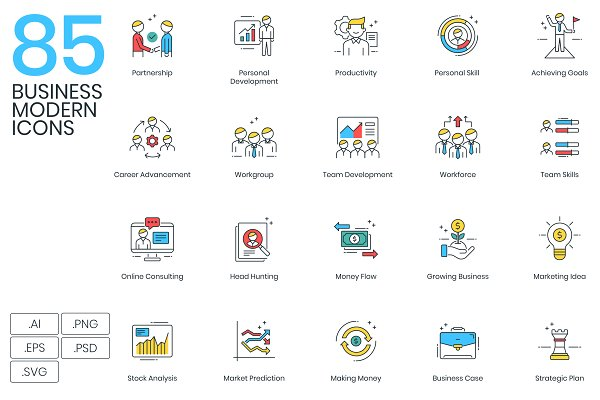 Icons: Flat Icons - 85 Modern Business Icons