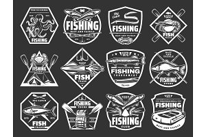Fishing sport vector icons