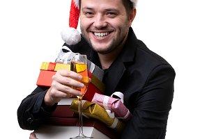 Photo of happy brunet in Santa's cap
