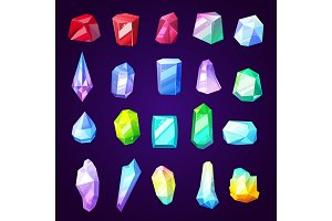 Gem stones and jewelry, vector