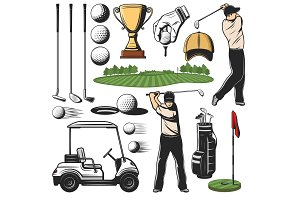 Golf sport items icons and player