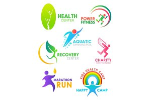 Health and sport people icons