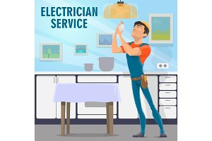 Electrician service and light bulb