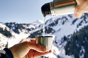 Hot tea in the mountains