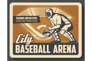 Baseball sport, catcher in helmet