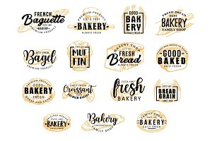 Bakery products icons with lettering