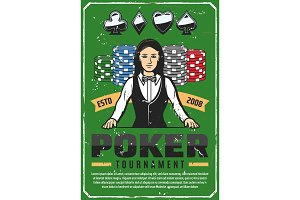 Poker tournament, female croupier