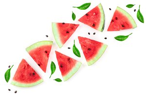 slices of watermelon isolated on