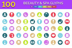 100 Beauty and Spa Glyph Icons Pack