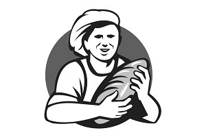 Baker Holding Bread Loaf Grayscale R