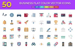 50 Business Flat Color Vector Icons