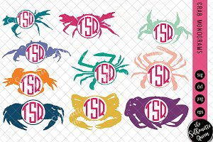 Crab Svg, Monogram Svg, Circle Frame