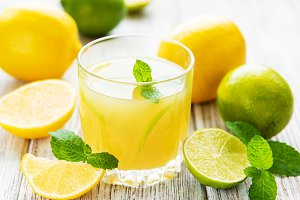 Glass with fresh lemon juice