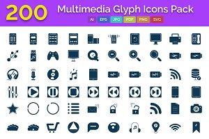 200 Multimedia Glyph Icons