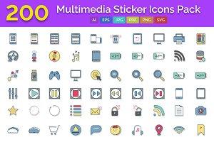 200 Multimedia Glyph Stickers