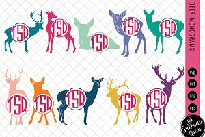 Deer Svg, Monogram Svg, Circle Frame