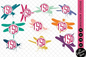 Dragonfly Svg, Monogram Svg
