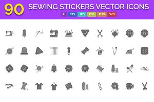 90 Sewing stickers Vector Icons