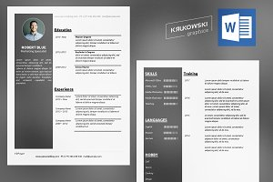 Dark Resume CV docx Template