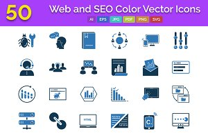 50 Web and SEO Color Vector Icons