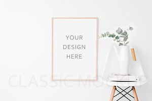 Large clean wooden frame mockup.PSD