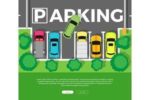 Parking Top View Vector Web Banner