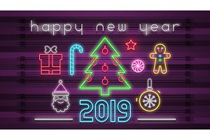 Neon Design Happy New Year Card