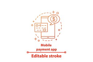 Mobile payment app concept icon