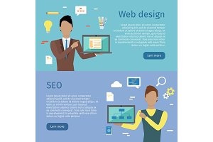 Web Design, SEO Vector Web Banners