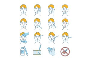 Neurotoxin injection color icons set