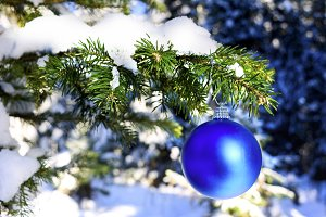 Blue Christmas ornament hanging