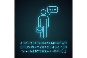 Thinking businessman neon light icon