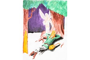 A female angel spies on a balalaika