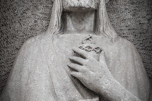 Low relief in stone of Jesus Christ