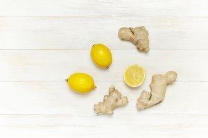 Fresh ginger root and lemon