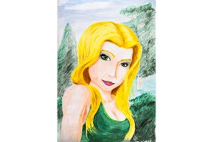 Portrait of a blonde girl in a green