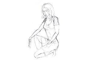 Pencil drawing, the girl sat on one