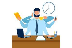Multitasking at work metaphor vector