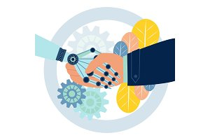 Robot handshake vector illustration