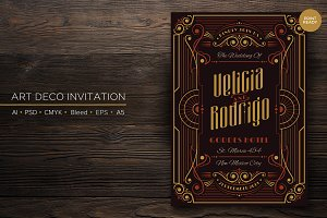 Art Deco Wedding Invitation (AI&PSD)
