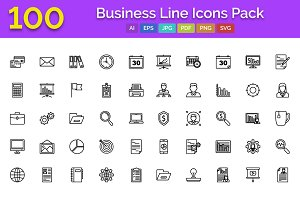 100 Business line Icons Pack