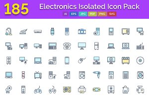 185 Electronics Isolated Icons Pack