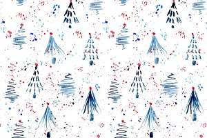 Firs and confetti seamless pattern
