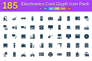 185 Electronics Cool Glyph Icon Pack