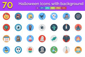 70 Halloween Icons with Background