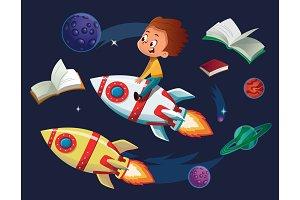 Boy on a Rocket Clipart (PNG, JPEG)