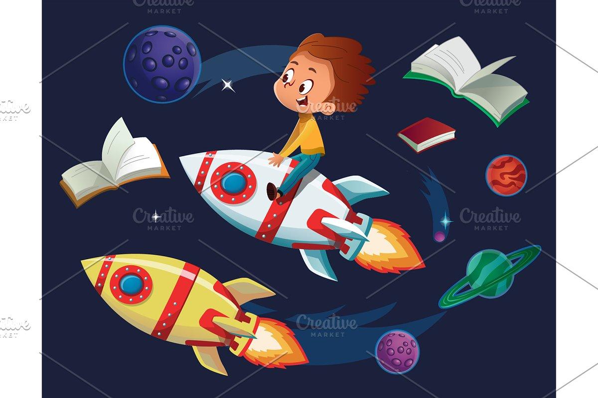 Planet rocket. Boy on a clipart